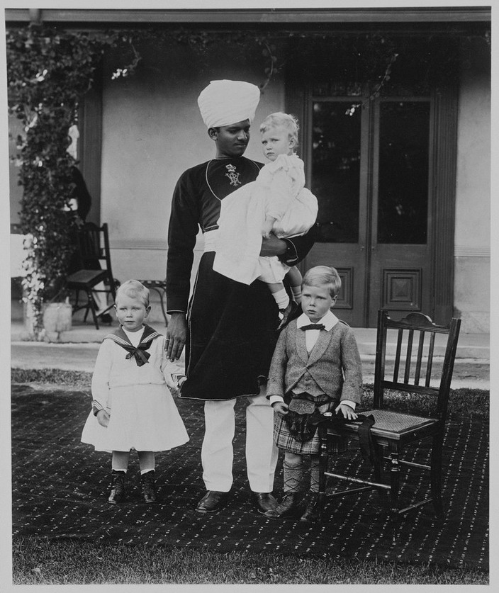 The Children of the Duke and Duchess of York with their Indian attendant Sheikh Abdu