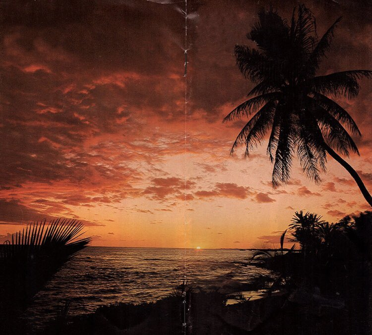 Tropical sunset from some old brochure