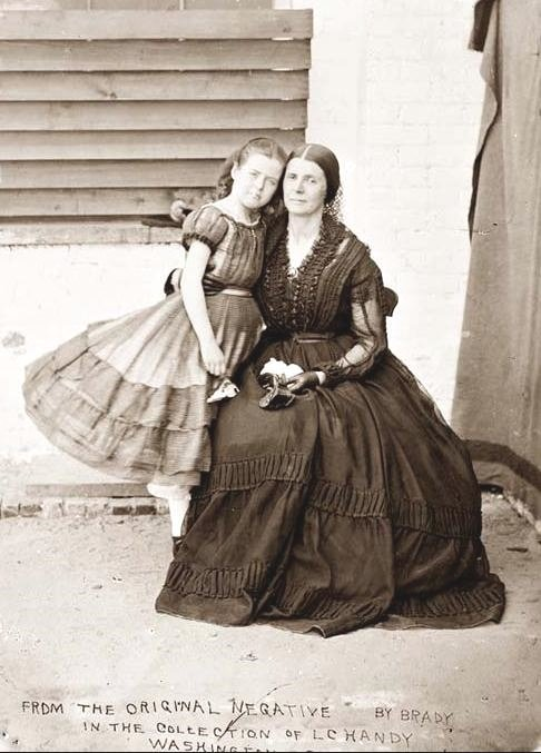 Mrs. Rose Greenhow, infamous Confederate spy in Washington DC during the US Civil War, with her daughter,1860s