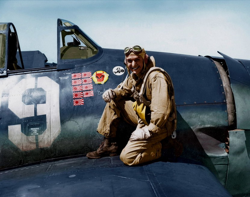 US Airman photographed proudly with his stickers signifying missions over Japan, WWII