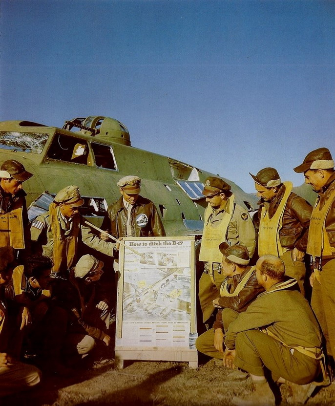 US aviators learning how to ditch the B-17 during the Battle of North Africa, WWII
