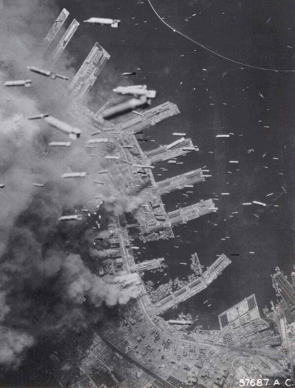 American bombs raining down on Kobe, Japan, WWII