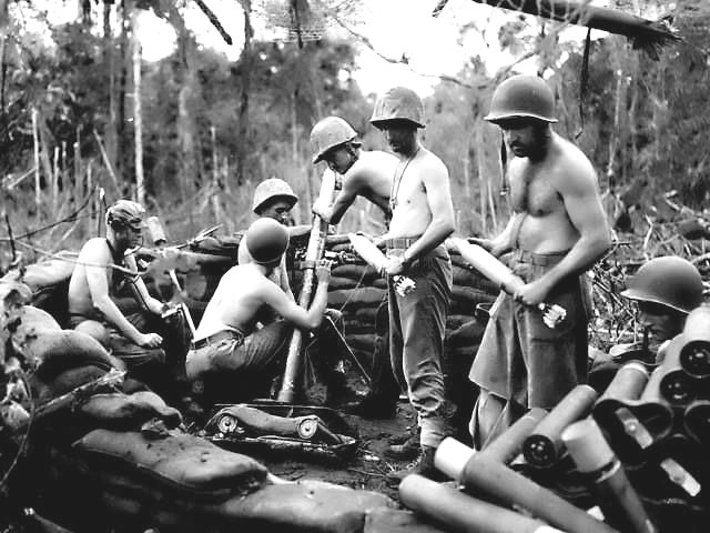 Shirtless American soldiers, Battle of the Pacific, WWII