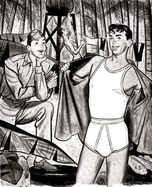 Men's underwear ad, WWII era,1940s