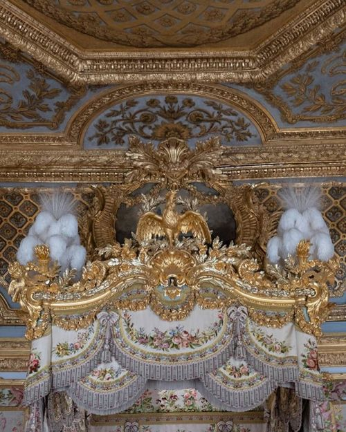 Details over Marie Antoinette's bed at Chateau Versailles, France