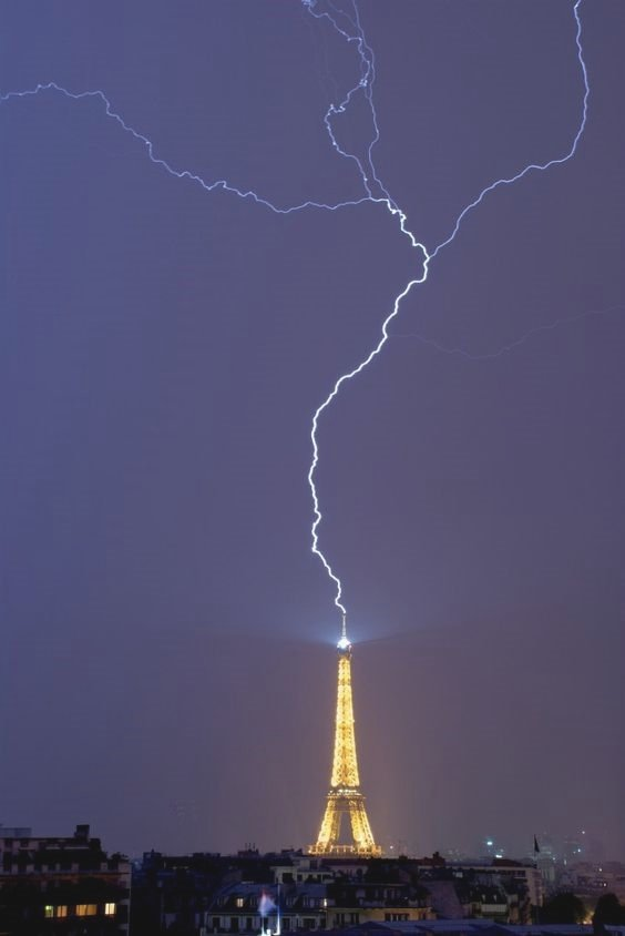 Eiffel Tower being hit by lightning
