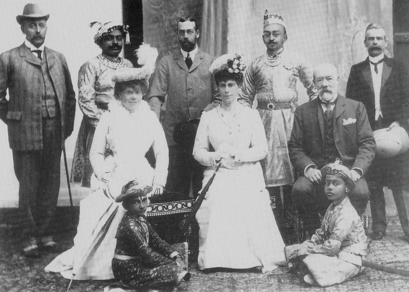 Prince George and Princess Mary with Indian dignitaries, 1890s