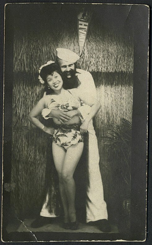 Sailor on shore leave in Hawaii, WWII era