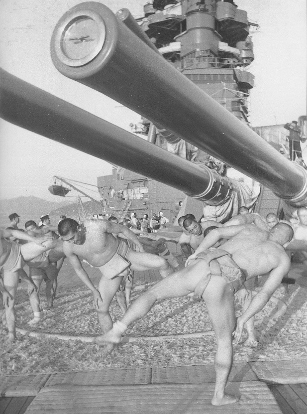 Sumo wrestlers on the deck of  Japanese battleship, WWII