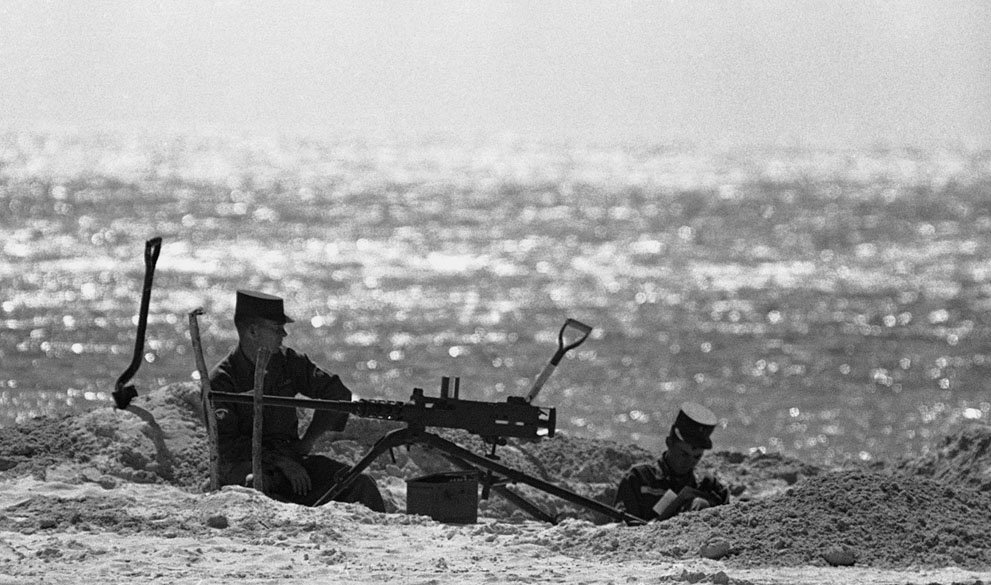 US Marines dug into a beach in the Florida Keys during the Cuban Missile Crisis, 1962
