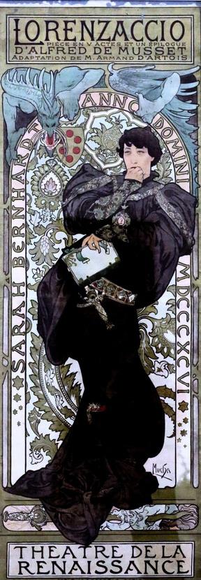 Sarah Bernhardt by Alphonse Mucha, Paris,1890s