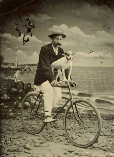 Mustachioed man on a bicycle with a puppy