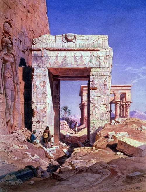 Doorway to the Temple of Isis (Ancient Egyptian God) by Carl Friedrich Heinrich Werne, 1860s