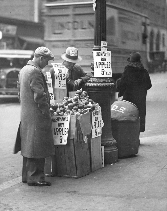 Selling apples on the street during the Great Depression, US,1930s