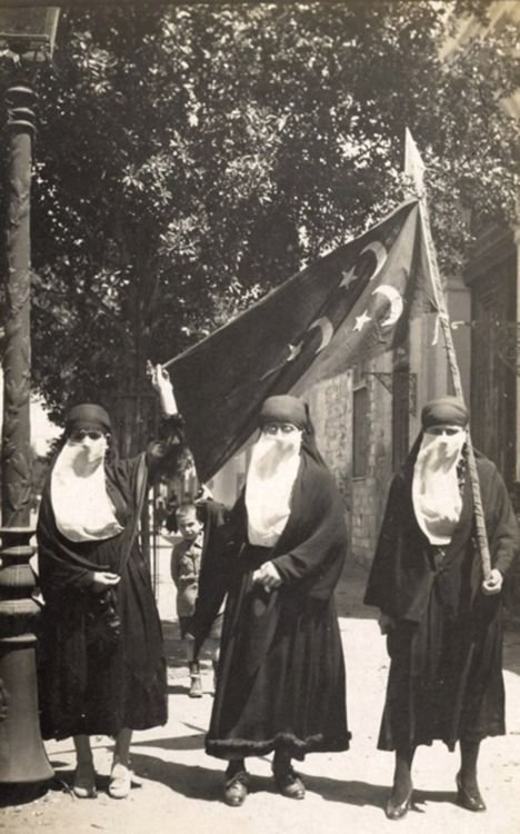 Egyptian women demonstrating against British colonial rule, Cairo, 1919