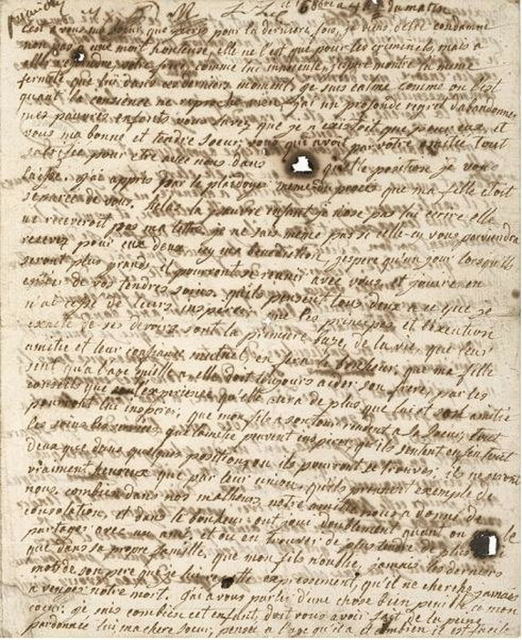 The last letter Marie Antoinette wrote (to her children) before her execution, stained with her tears