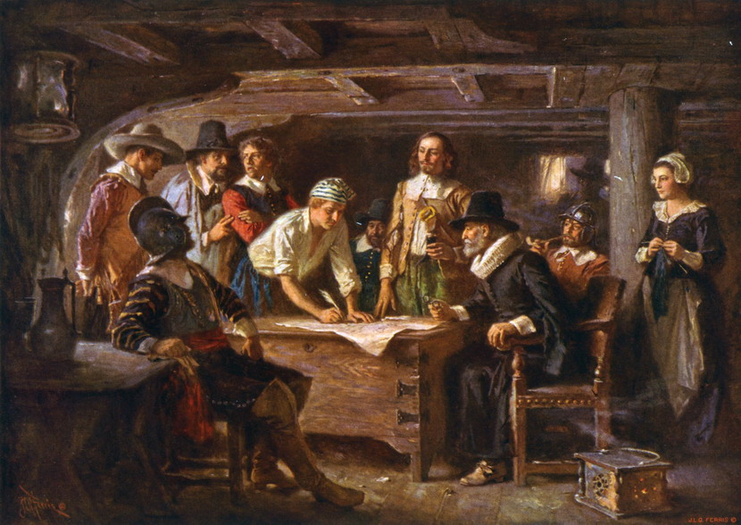 """The Mayflower Compact"" by Jean-LéonGérôme"