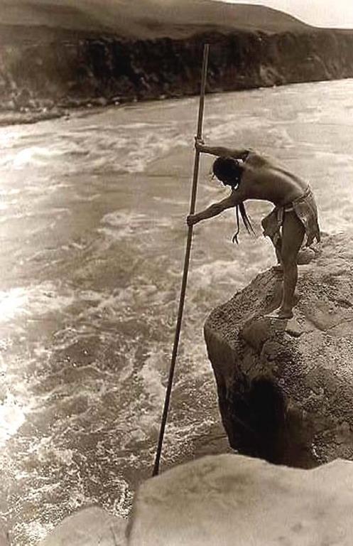 Native North American fisherman, circa1905
