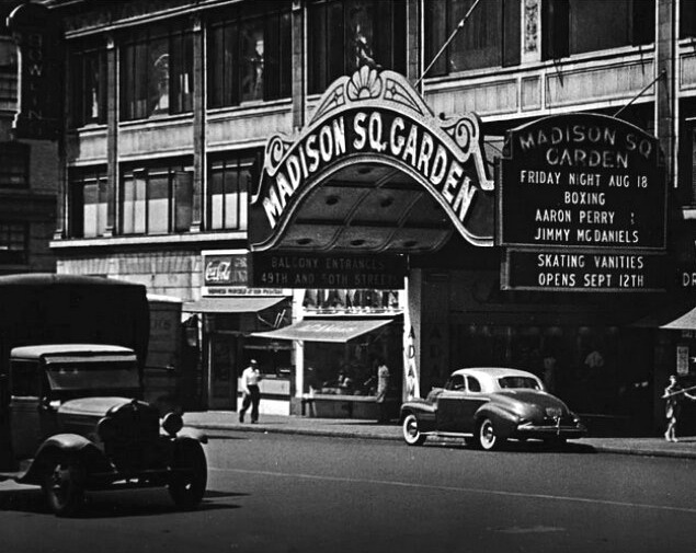 Outside the old Madison Square Garden, NYC,1930s