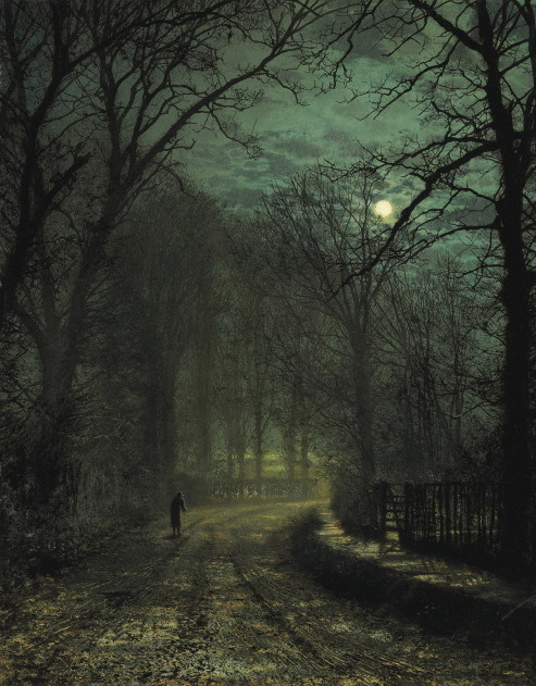 Painting, I think by John Atkinson Grimshaw, depicting what I think of when I think of November