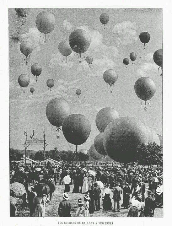 Les courses de ballons a Vincennes, Exposition Universalle, Paris,1900