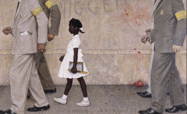 African-American child being escorted to a racially integrated school by US Marshals, Norman Rockwell, 1950s