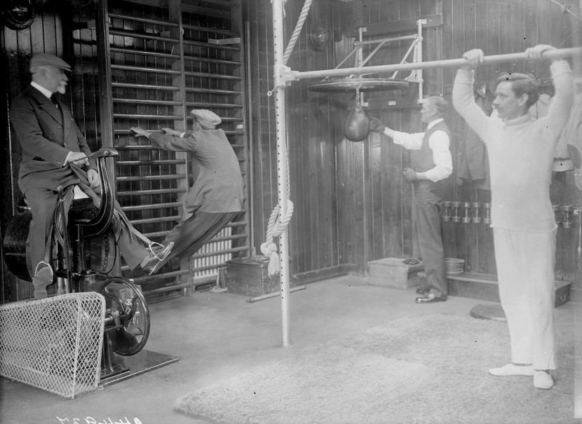Gym on board an ocean liner, circa1910