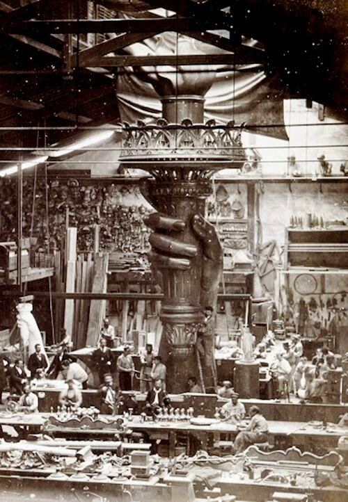 The Statue of Liberty's torch being built in an atelier in Paris,1800s