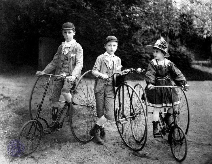 Children and tricycles, Latvia, circa 1900