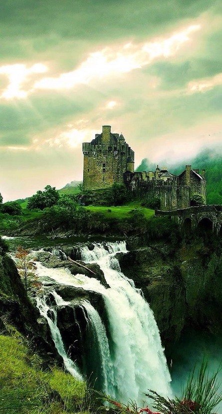 Castle and waterfall, Scotland