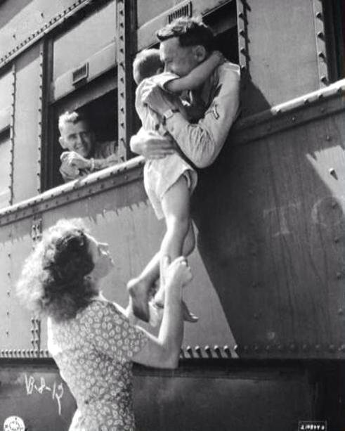 Saying goodbye to a soldier leaving for service, WWII