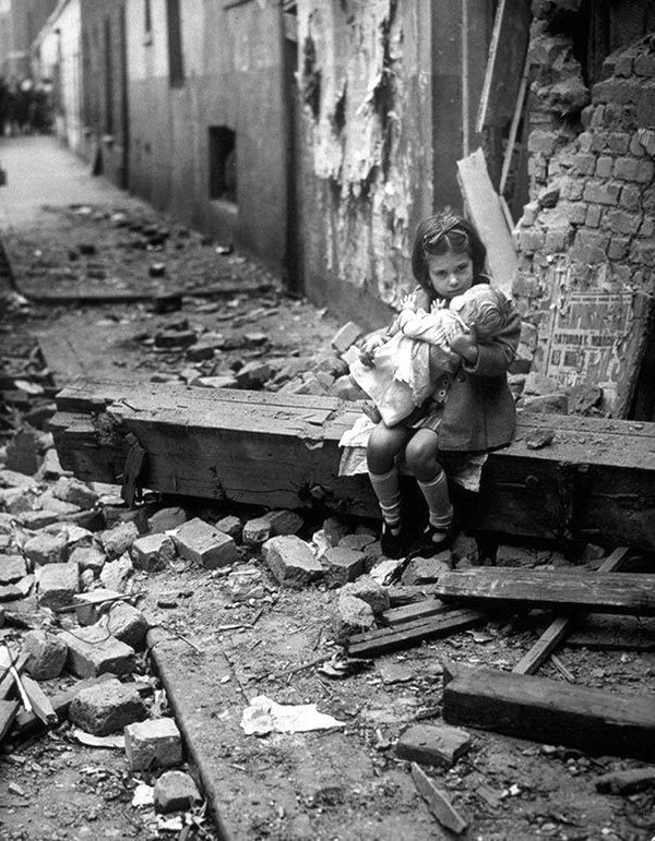 Little girl in the rubble of London during the Blitz,WWII