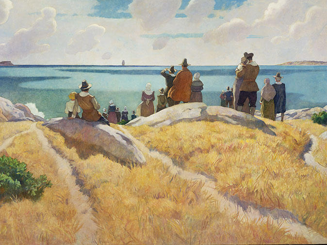 """""""The Departure of the Mayflower"""" (from Plymouth) by N.C.Wyeth"""