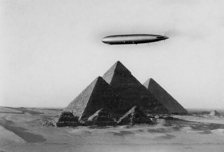 German zeppelin over the Giza Pyramids, Egypt, 1930s