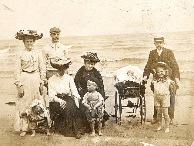 Family at the beach, circa 1900