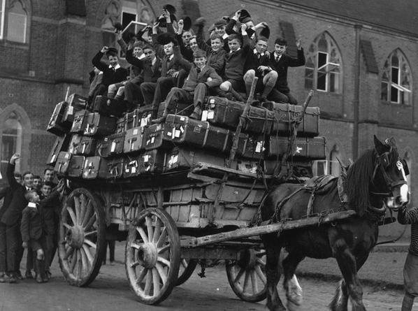Boys leaving the academy for Christmas break,England