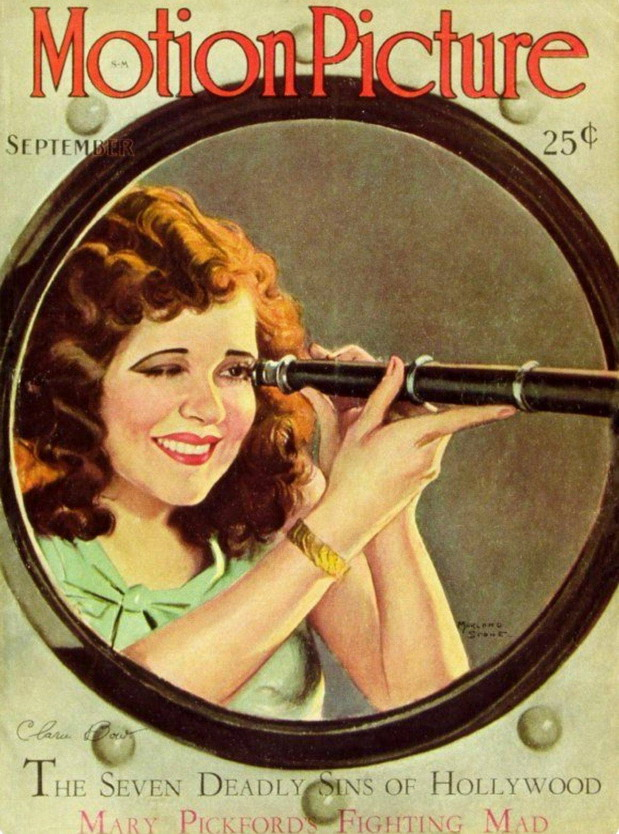 Silent film star Clara Bow on the cover of Motion Picture magazine,1920s