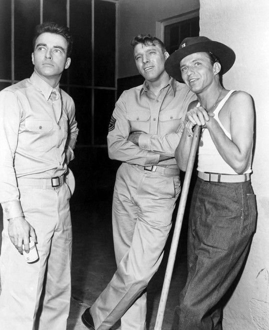 "Montgomery Clift, Burt Lancaster, and Frank Sinatra on the set in Hawaii during the filming of ""From Here to Eternity"""