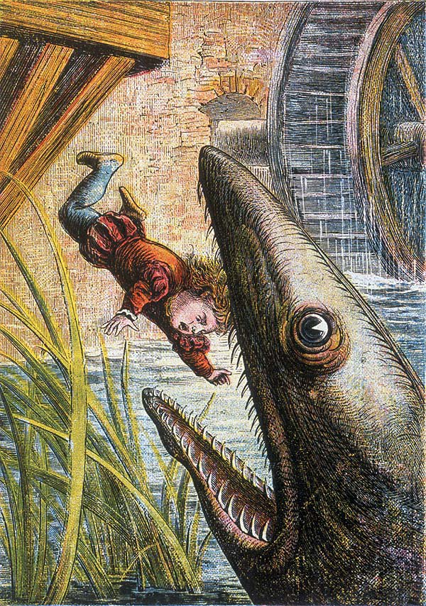 That's when we lost the baby to the giant eel, you see