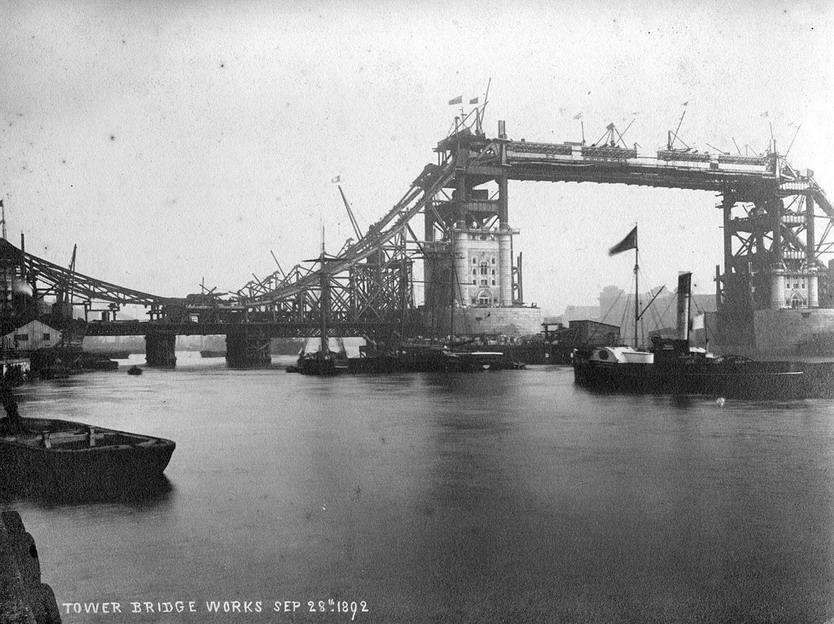 Tower Bridge in London under construction,1892