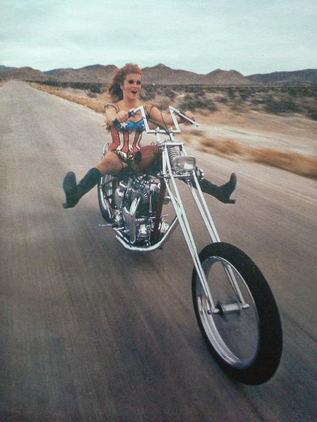 Ann-Margret letting loose on a chopper,1971