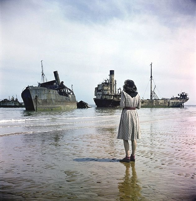 A beach in Normandy a year after the D-Day invasion,1945