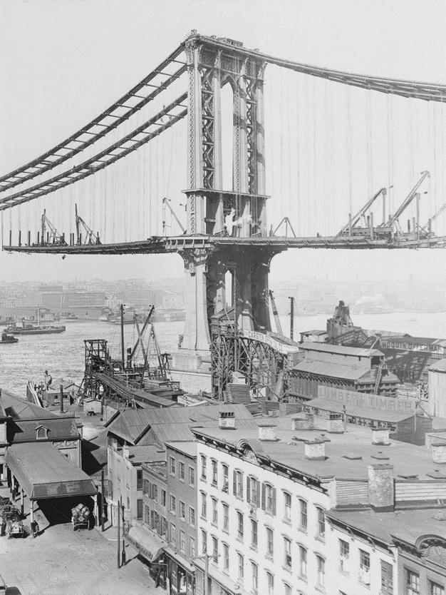 The Manhattan Bridge under construction,NYC