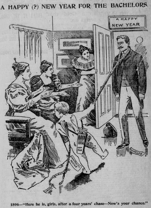 A happy (?) new year for the bachelors, 1896