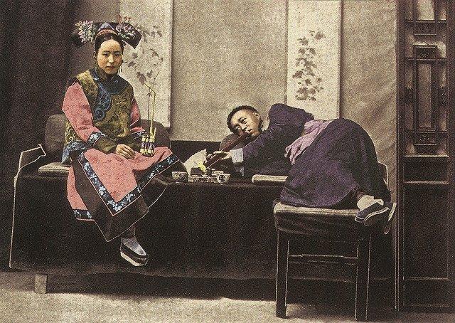Opium parlour, China