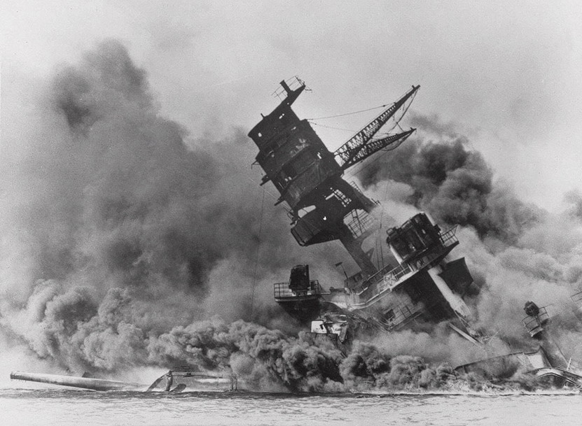 The sinking of the USS Arizona during the Japanese attack on Pearl Harbor, 78 years ago today
