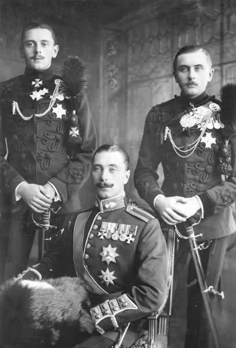 The three Princes of Battenberg, Germany, in their military attire during the WWIera