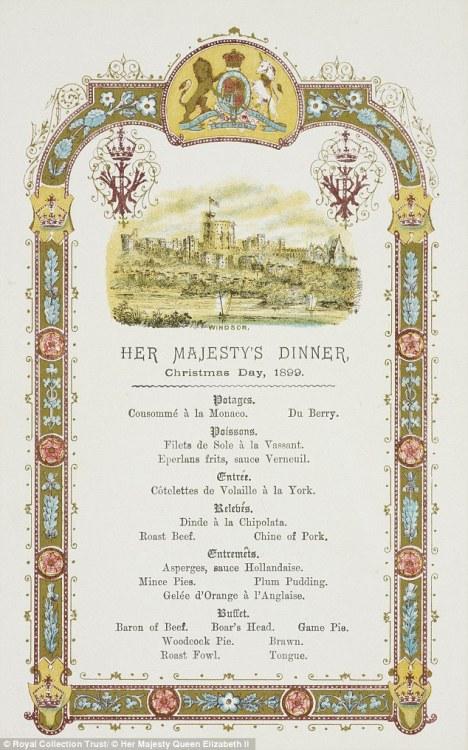 Queen Victoria's Christmas Dinner Menu,1899