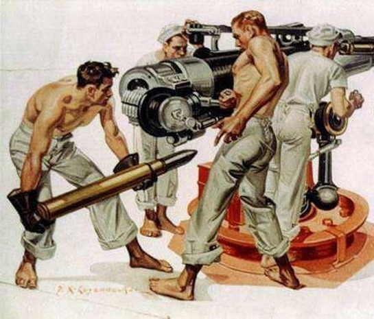 Sailors loading a big gun, WWIera