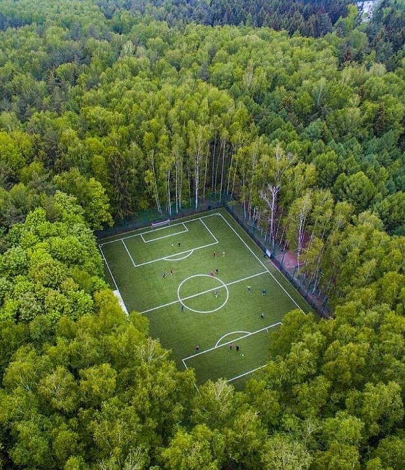 Playing field in the middle of the forest, Russia